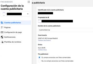 configuración datos fiscales facebook ads